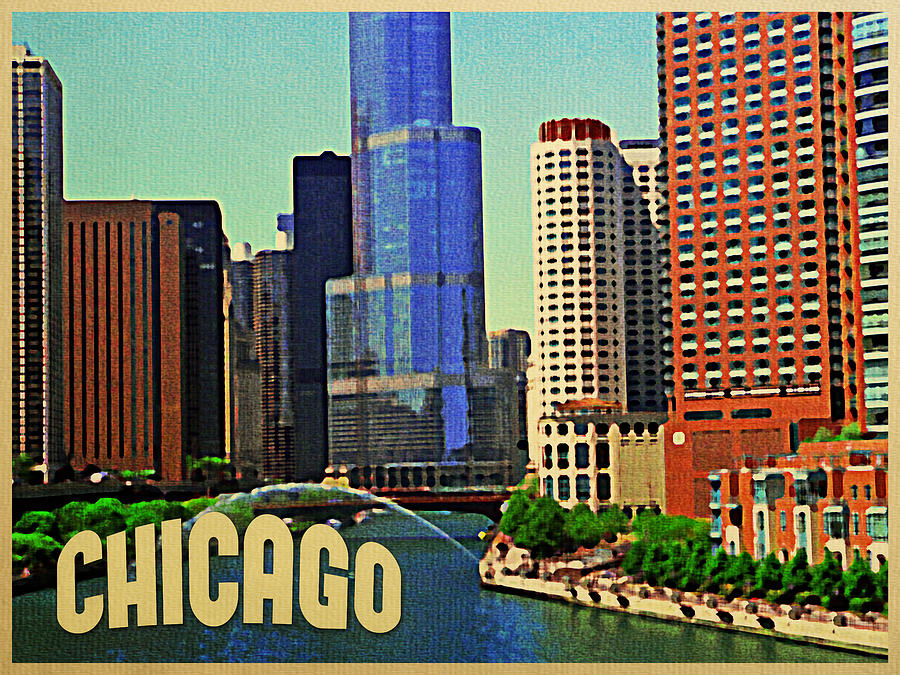 Chicago skyline by flo karp for Vintage chicago posters