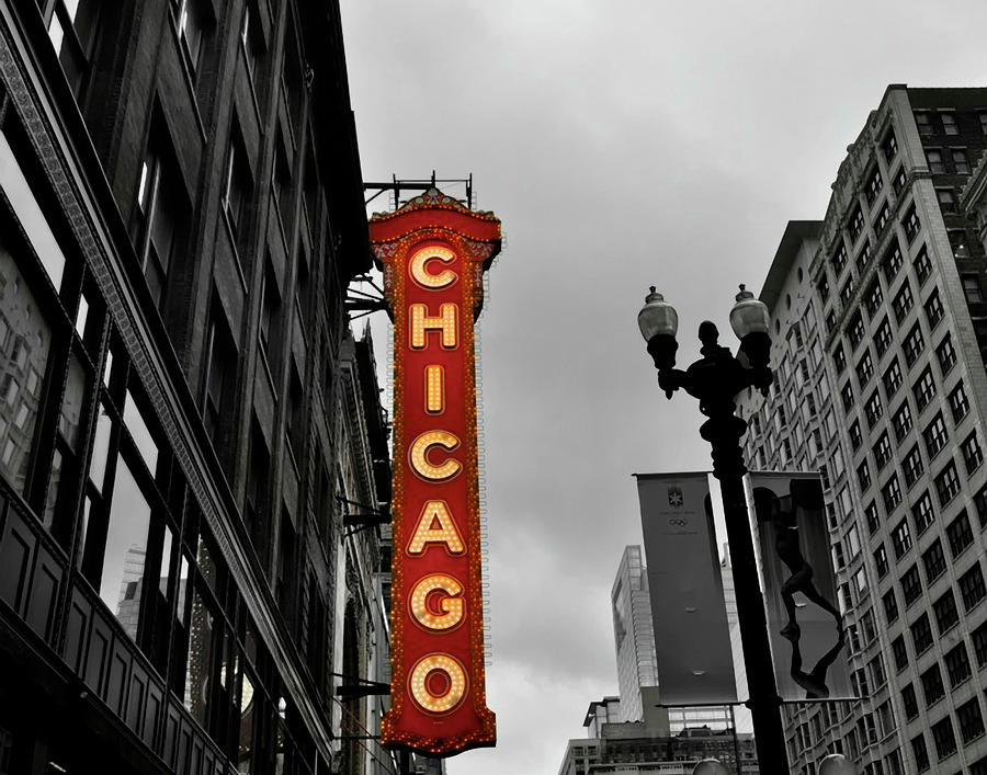 Chicago Theater In Black And White Photograph