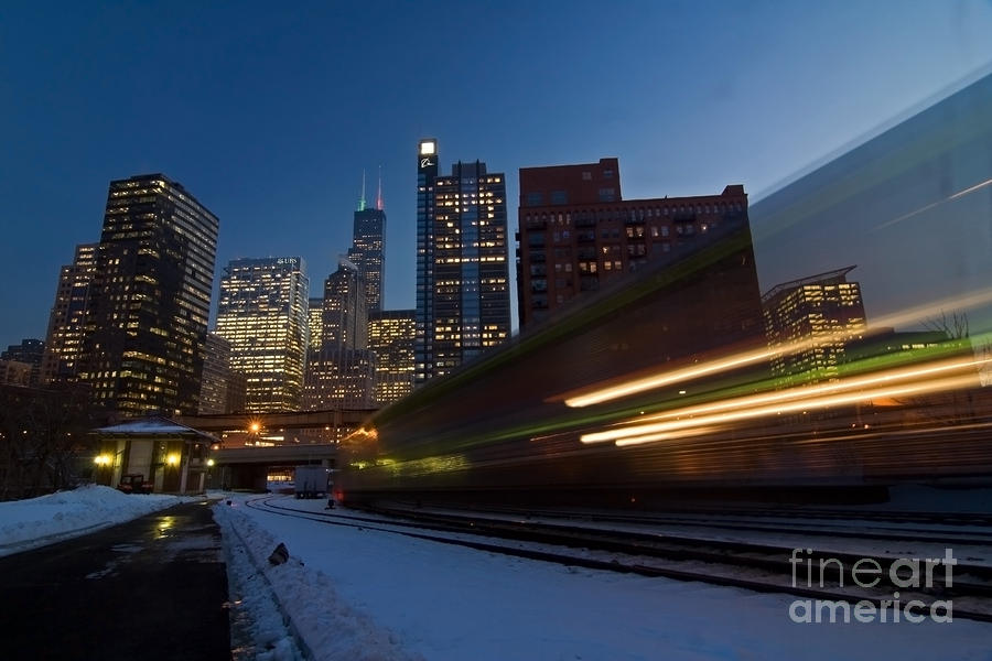 Chicago Train Blur Photograph