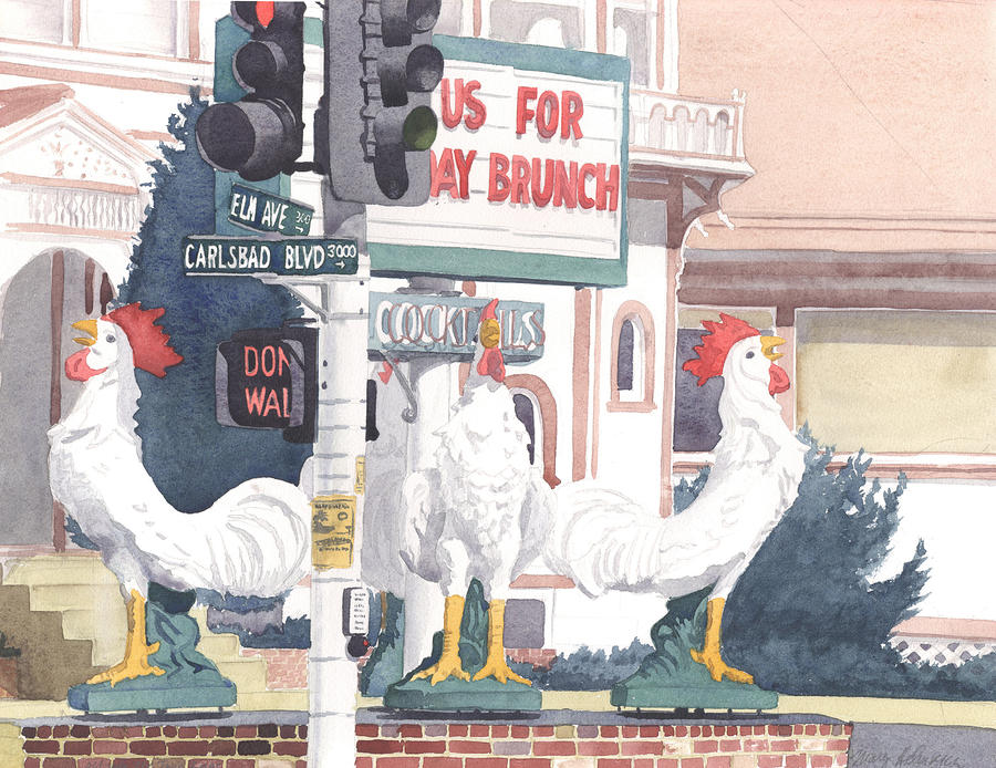 Chickens At Twin Inns Carlsbad Painting  - Chickens At Twin Inns Carlsbad Fine Art Print
