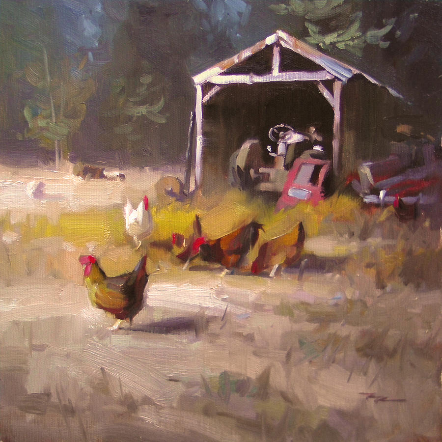 Chicken Painting - Chickens In Paradise by Richard Robinson