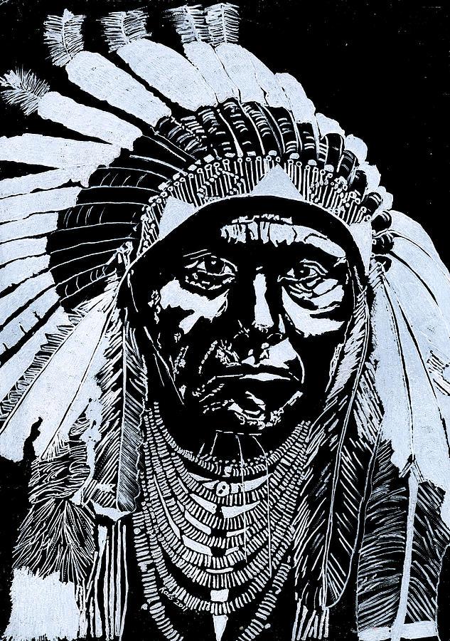 Chief Joseph Glass Art - Chief Joseph by Jim Ross