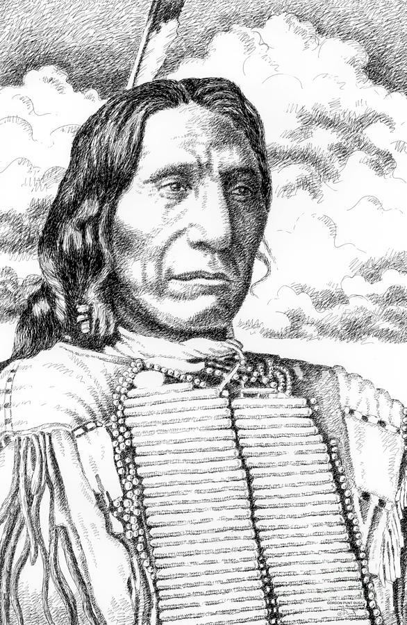 Chief-red-cloud Drawing  - Chief-red-cloud Fine Art Print