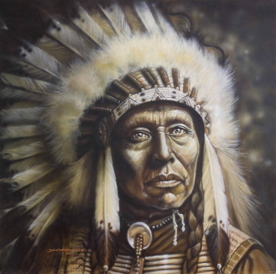 Old West Painting - Chief by Tim  Scoggins