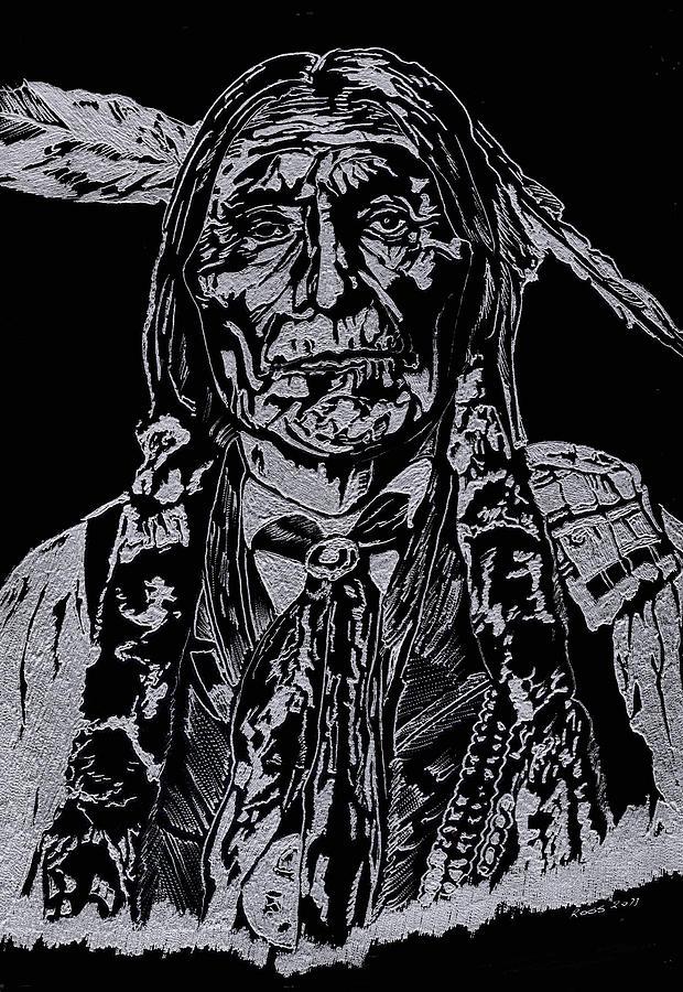 Chief Wolf Robe Glass Art