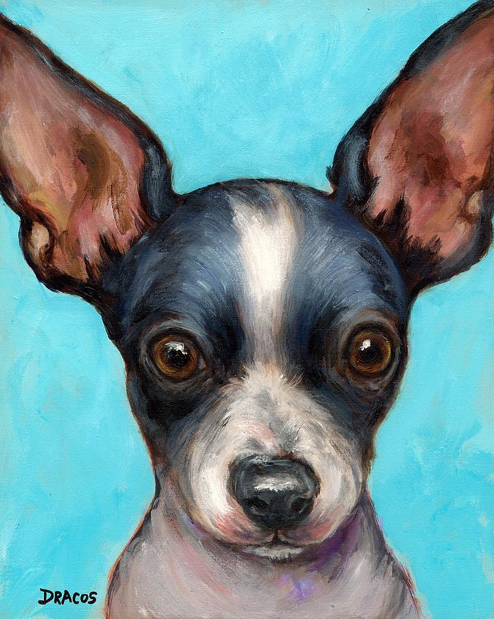 Chihuahua Puppy With Big Ears Painting