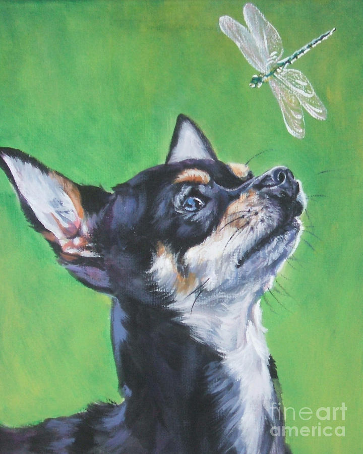 Chihuahua With Dragonfly Painting  - Chihuahua With Dragonfly Fine Art Print