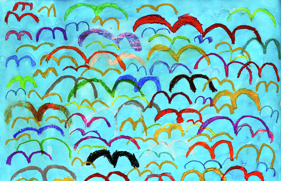Child Drawing Of Colorful Birds In Blue Sky Photograph  - Child Drawing Of Colorful Birds In Blue Sky Fine Art Print