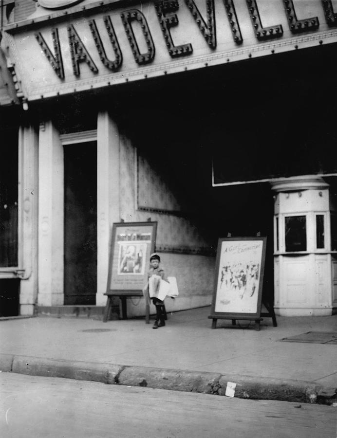 Child Labor In Front Of A Movie Photograph  - Child Labor In Front Of A Movie Fine Art Print