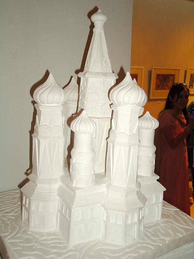Plaster Of Paris Carved Architecture. Sculpture - Childhood Memories by Shahid altaf Shayaf