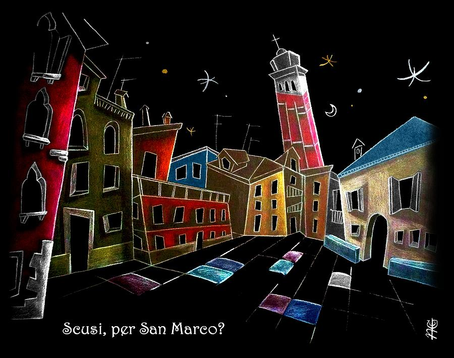 Children Book Illustration Venice Italy - Libri Illustrati Per Bambini Venezia Italia Drawing  - Children Book Illustration Venice Italy - Libri Illustrati Per Bambini Venezia Italia Fine Art Print