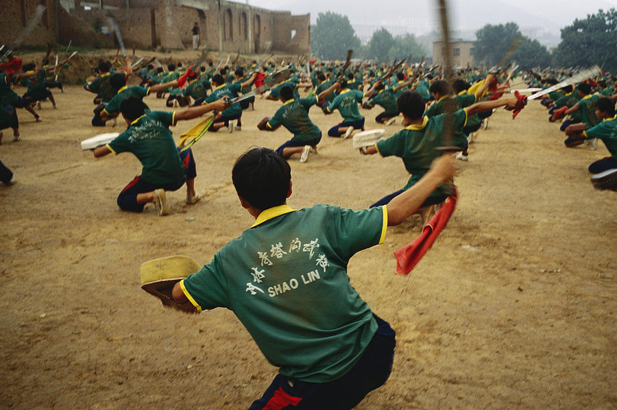 Children Practice Kung Fu In A Field Photograph