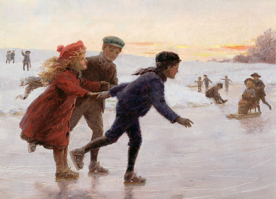 Children Skating Painting  - Children Skating Fine Art Print