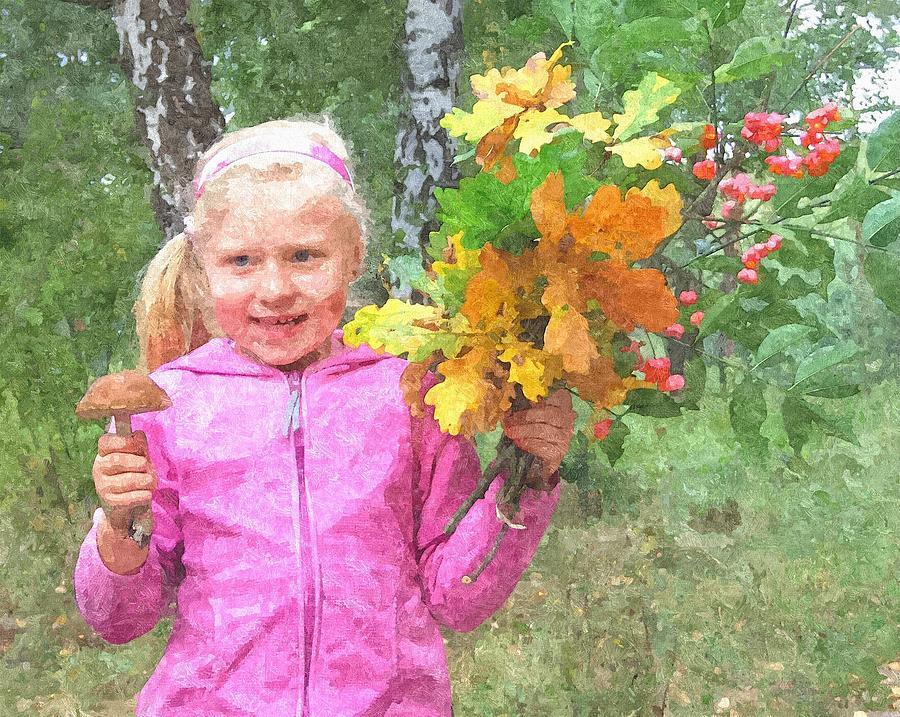 Kids Painting - Childrens Fall by Tomasz Bujak
