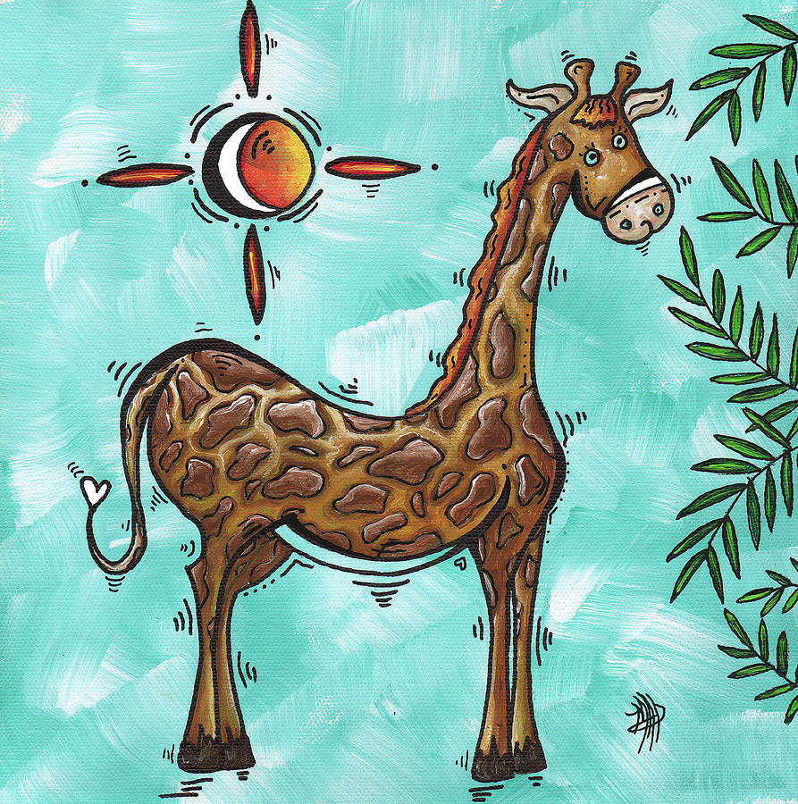 Childrens Nursery Art Original Giraffe Painting Playful By Madart Painting  - Childrens Nursery Art Original Giraffe Painting Playful By Madart Fine Art Print