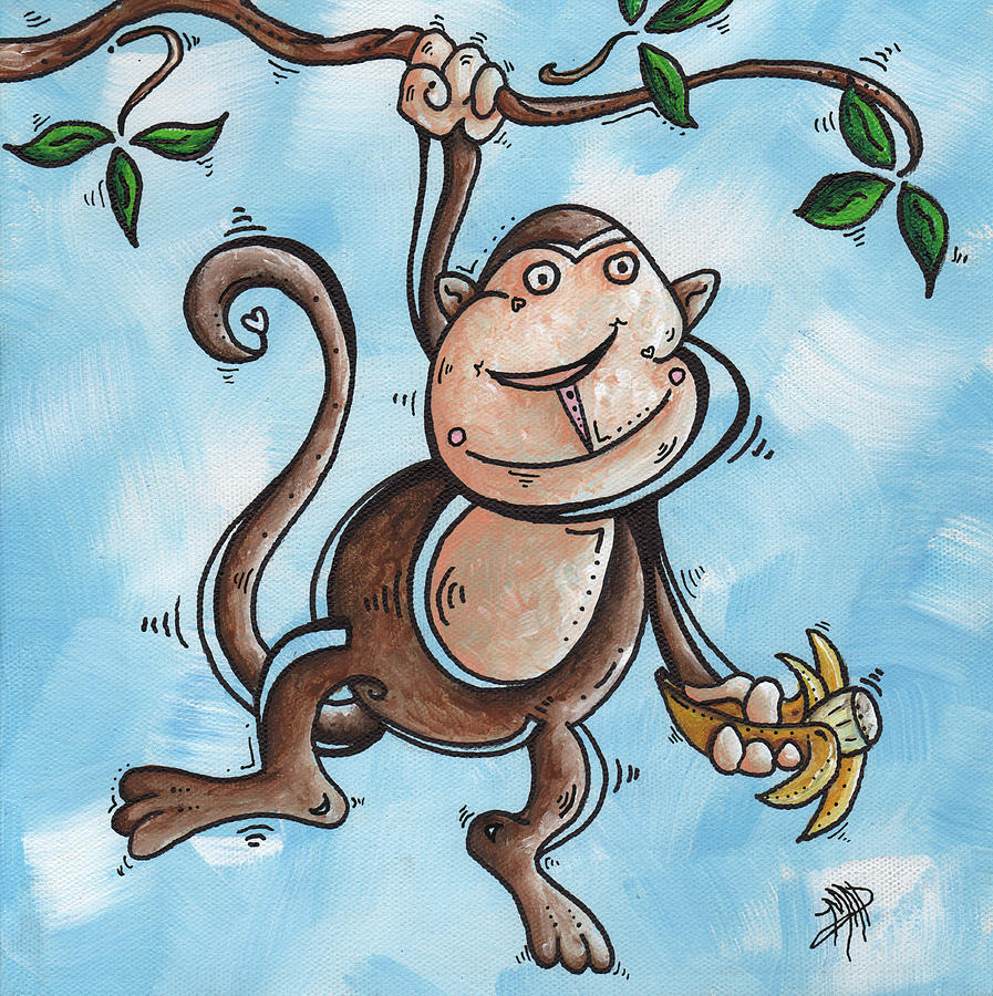 Childrens Whimsical Nursery Art Original Monkey Painting Monkey Buttons By Madart Painting  - Childrens Whimsical Nursery Art Original Monkey Painting Monkey Buttons By Madart Fine Art Print