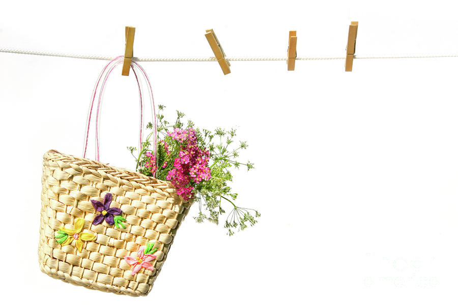 Childs Straw Purse With Flowers Photograph
