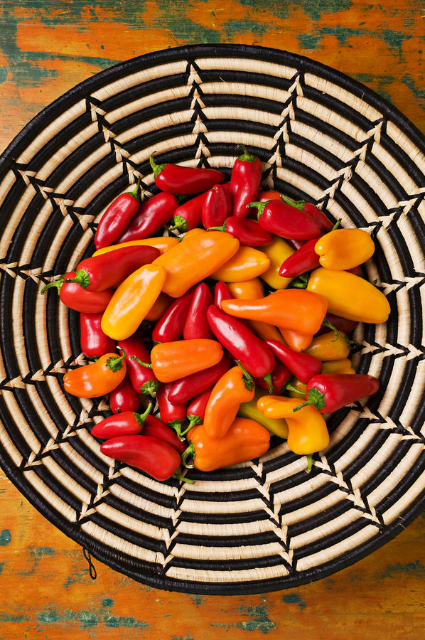 Chili Peppers In Basket  Photograph  - Chili Peppers In Basket  Fine Art Print