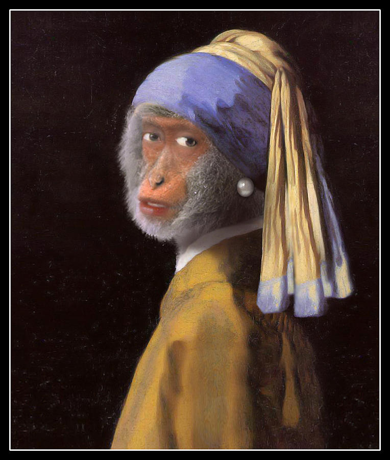 Chimp With A Pearl Earring Painting