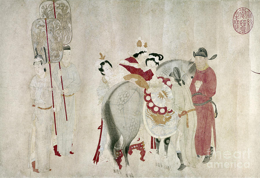 China - Concubine And Horse Painting  - China - Concubine And Horse Fine Art Print