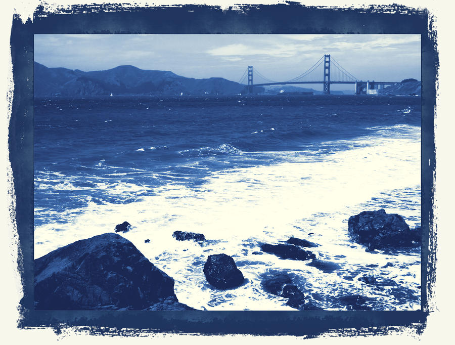 China Beach And Golden Gate Bridge With Blue Tones Photograph