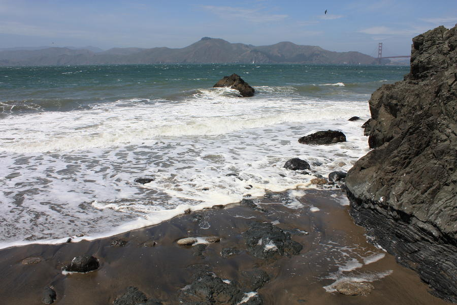 China Beach With Outgoing Wave Photograph