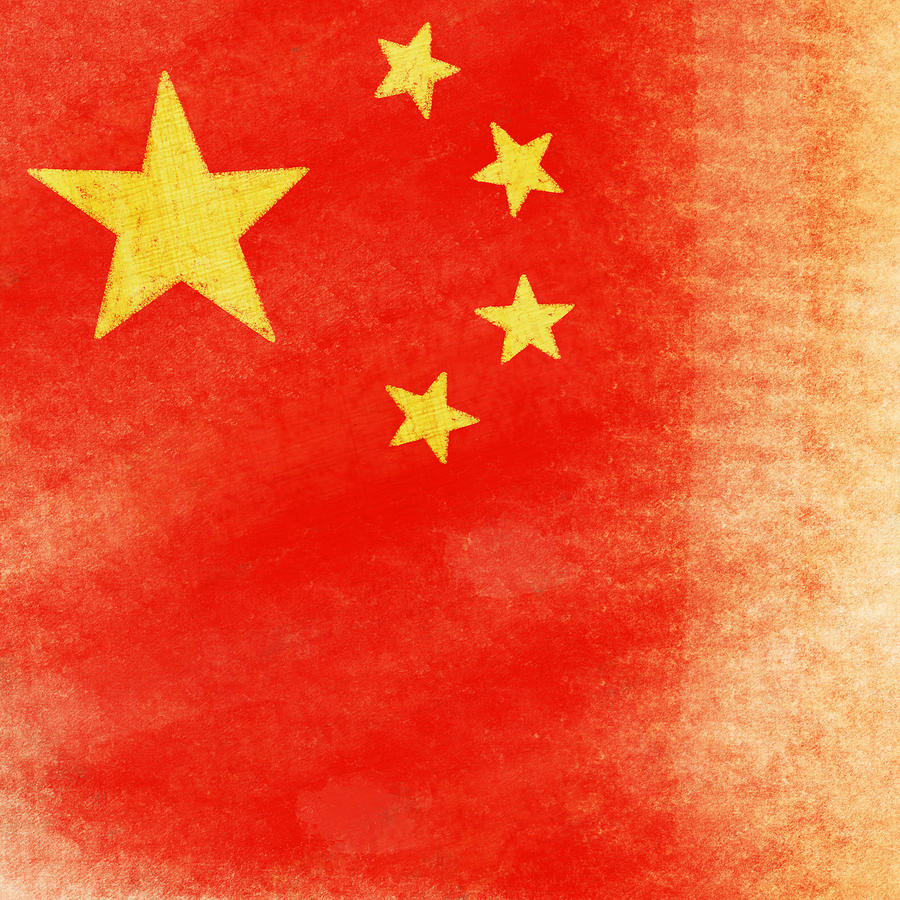 China Flag Painting  - China Flag Fine Art Print
