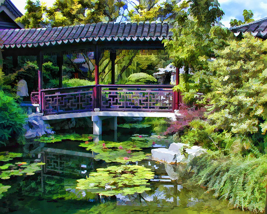 Chinese Gardens In Portland Oregon Painting By Elaine Plesser