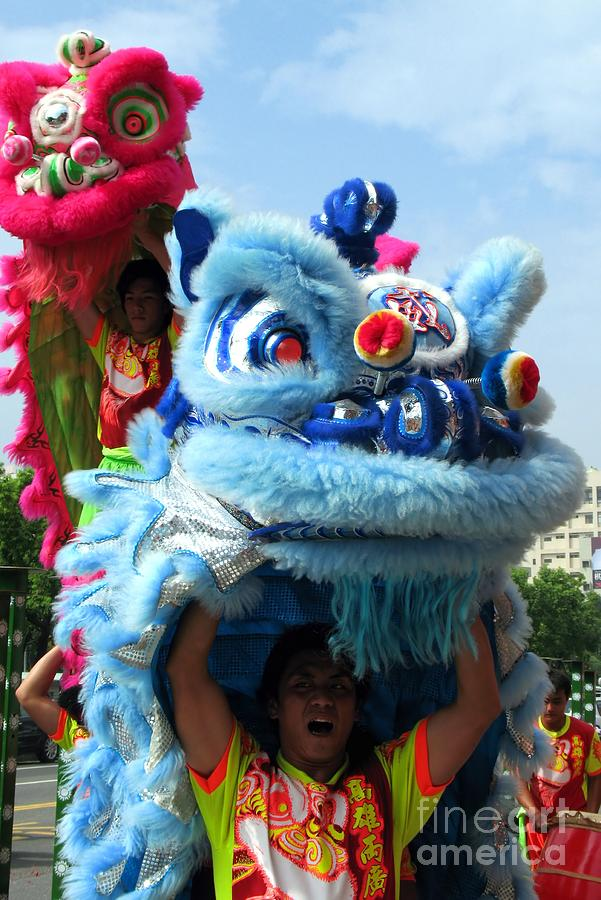 Chinese Lion Dancers In Taiwans Southern City Of Kaohsiung Photograph  - Chinese Lion Dancers In Taiwans Southern City Of Kaohsiung Fine Art Print