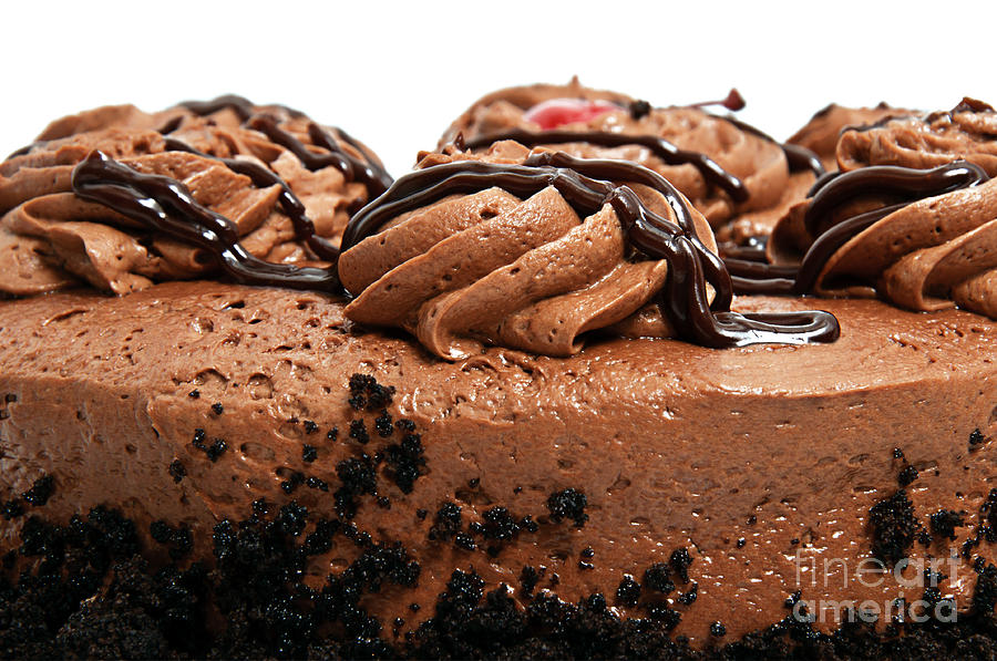 Chocolate Photograph - Chocolate Cake With A Cherry On Top 3 by Andee Design