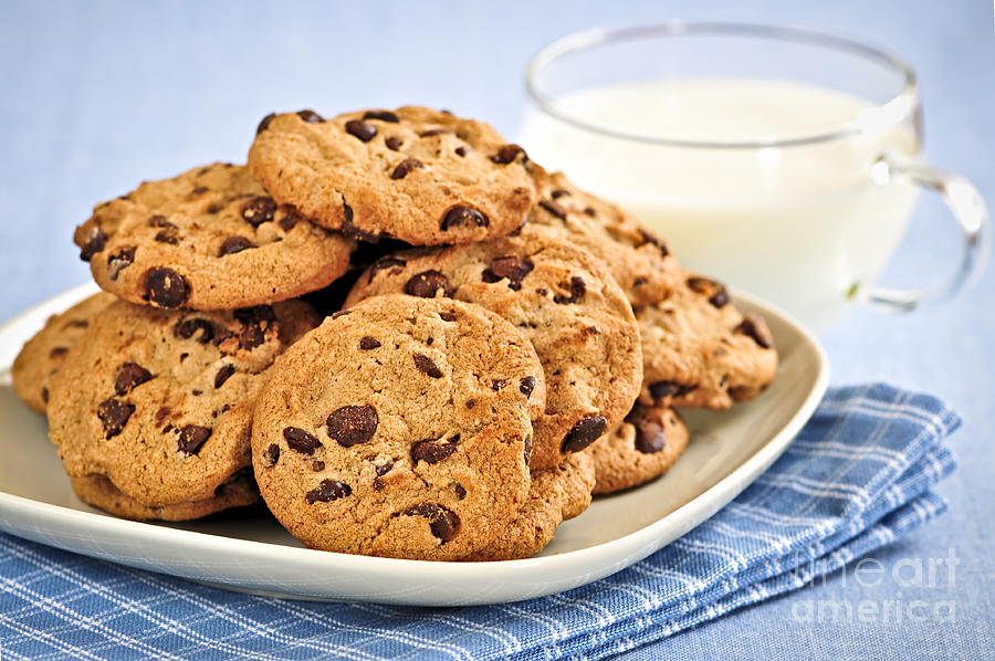 Chocolate Chip Cookies And Milk Photograph