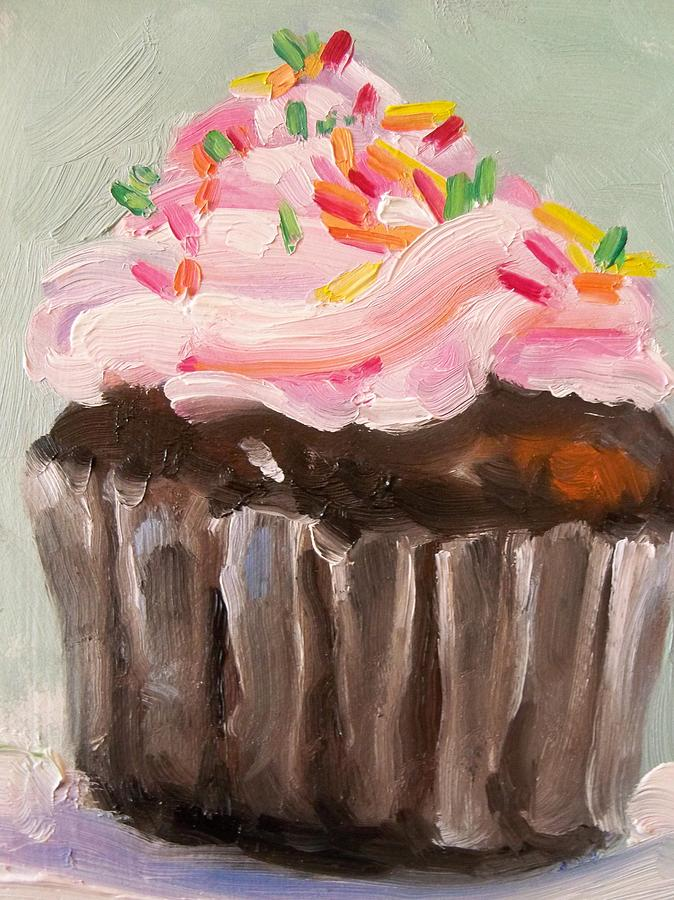Chocolate Cupcake With Sprinkles Painting