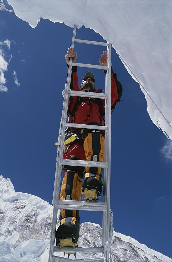 Chris Binggeli Climbs A Ladder Photograph  - Chris Binggeli Climbs A Ladder Fine Art Print