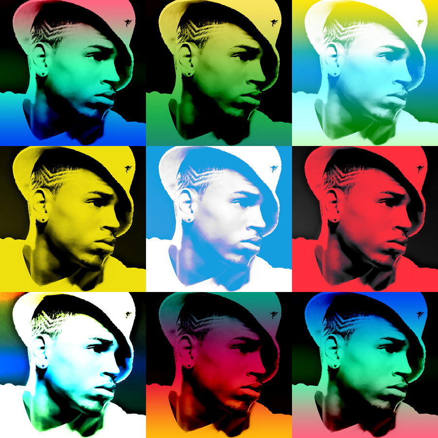 Chris Brown Warhol By Gbs Digital Art  - Chris Brown Warhol By Gbs Fine Art Print