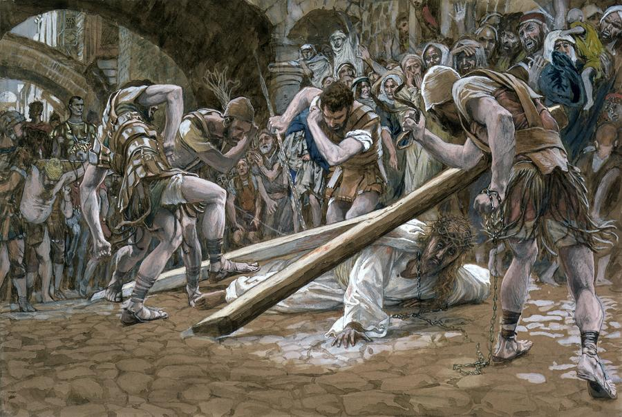 Christ Falls Beneath The Cross Painting