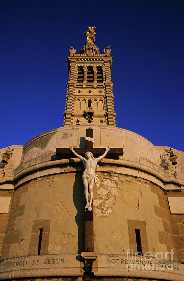 Christ On The Cross Outside The Nortre Dame De La Garde Photograph  - Christ On The Cross Outside The Nortre Dame De La Garde Fine Art Print