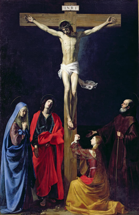 Christ On The Cross With The Virgin Mary Magdalene St John And St Francis Of Paola Painting  - Christ On The Cross With The Virgin Mary Magdalene St John And St Francis Of Paola Fine Art Print