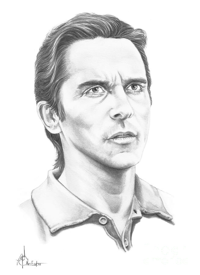 Christian Bale Drawing  - Christian Bale Fine Art Print