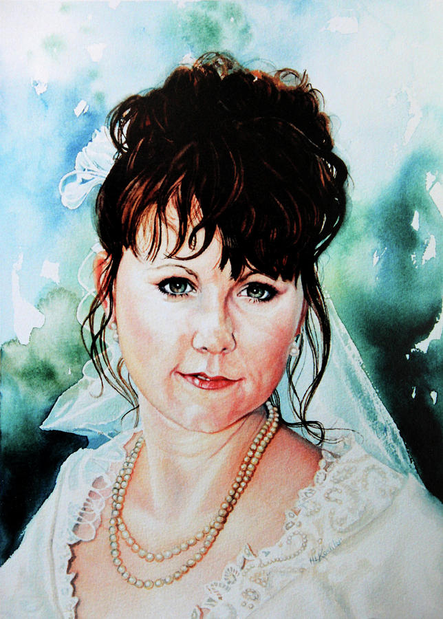 Bridal Portrait Painting - Christis Wedding Day by Hanne Lore Koehler