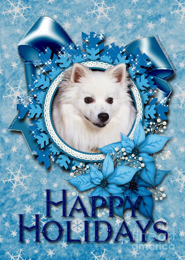 Christmas - Blue Snowflakes American Eskimo Digital Art