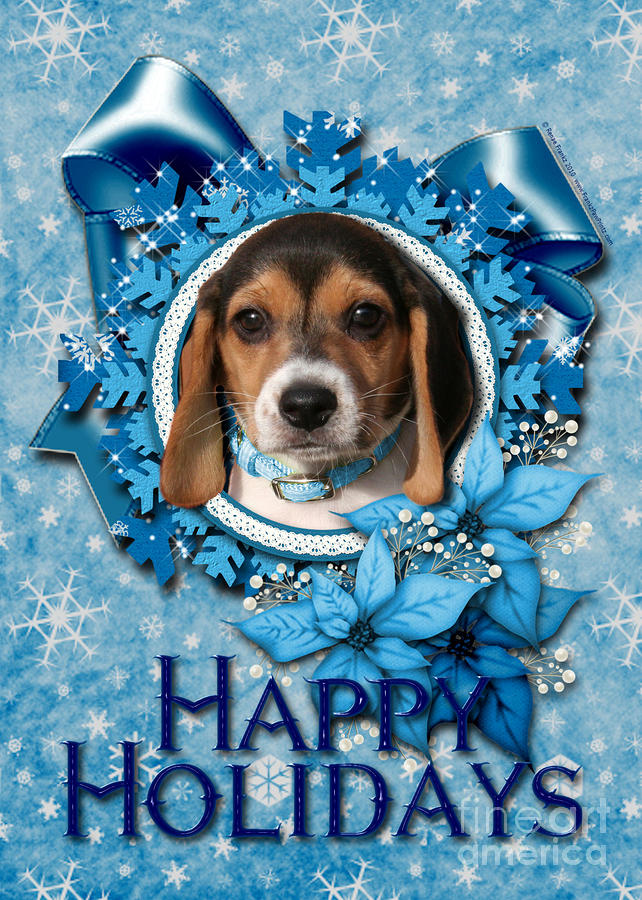 Christmas - Blue Snowflakes Beagle Puppy Digital Art
