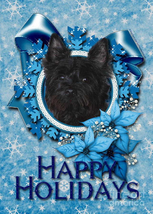 Christmas - Blue Snowflakes Cairn Terrier Digital Art
