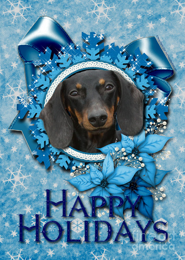 Christmas - Blue Snowflakes Dachshund Digital Art