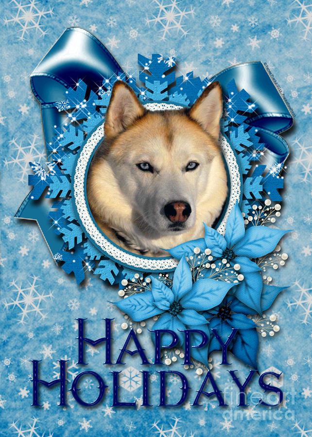 Christmas - Blue Snowflakes Siberian Husky Digital Art