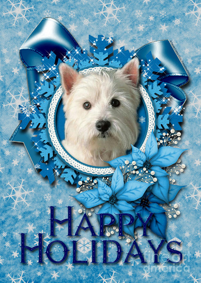 Christmas - Blue Snowflakes West Highland Terrier Digital Art  - Christmas - Blue Snowflakes West Highland Terrier Fine Art Print
