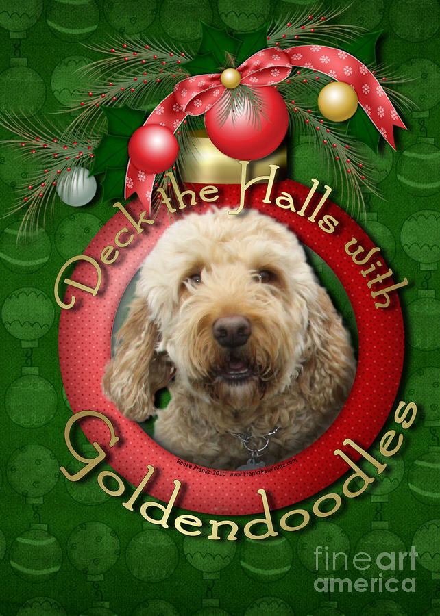 Christmas - Deck The Halls With Goldendoodles Digital Art  - Christmas - Deck The Halls With Goldendoodles Fine Art Print