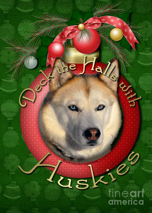 Christmas - Deck The Halls With Huskies Digital Art  - Christmas - Deck The Halls With Huskies Fine Art Print