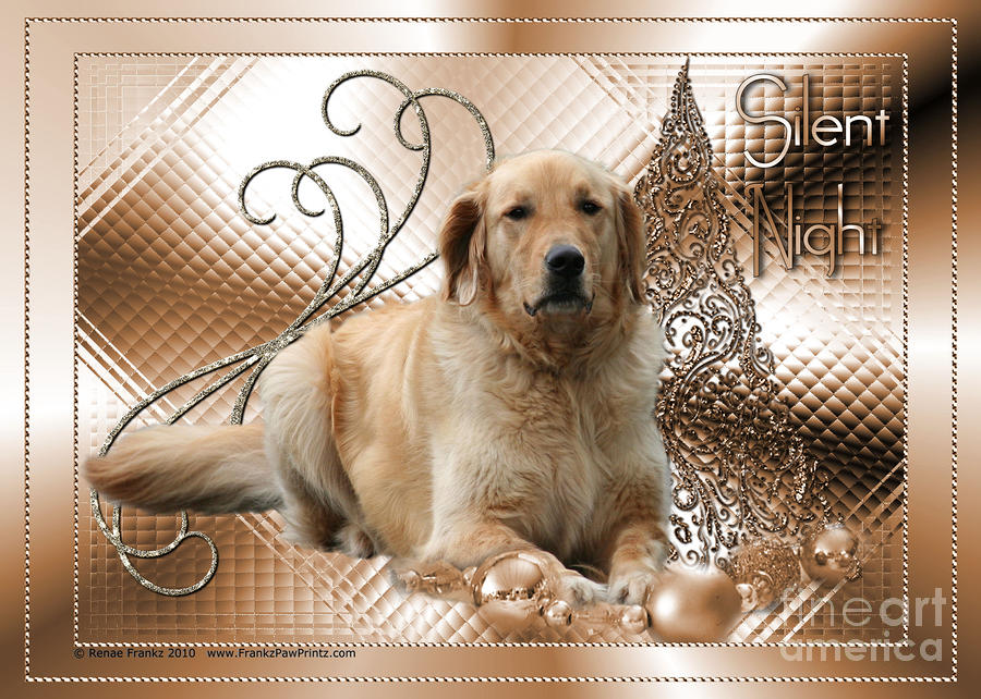 Christmas - Silent Night - Golden Retriever Digital Art