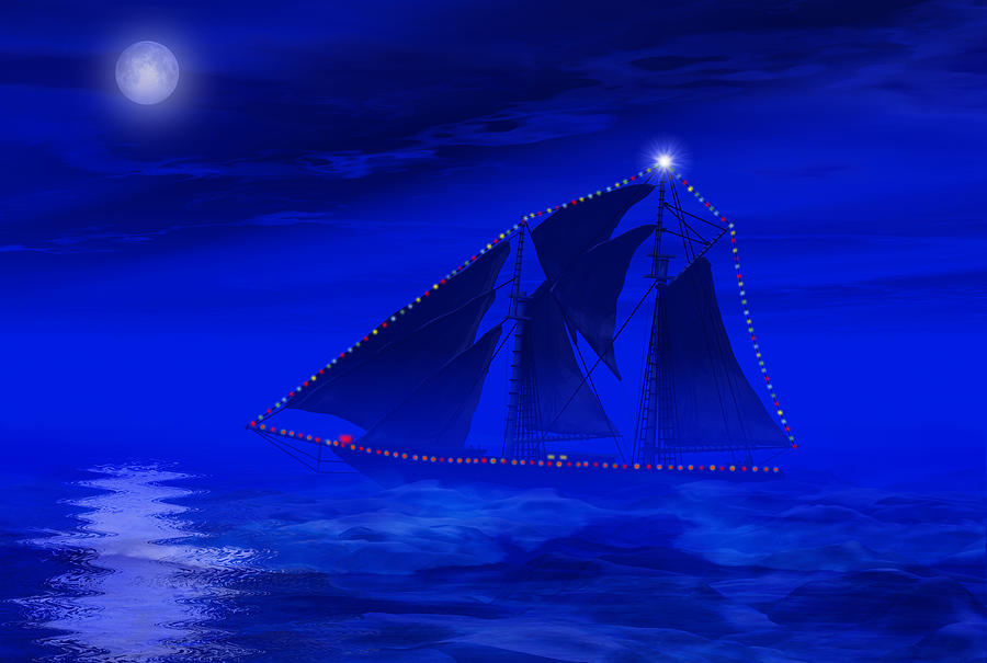 Christmas At Sea Digital Art  - Christmas At Sea Fine Art Print