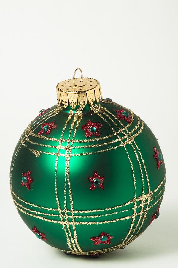 Christmas Ball Ornament Green Gold 1 is a photograph by John Brueske ...
